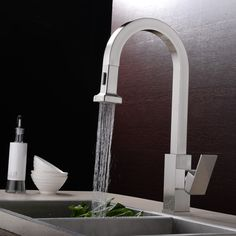 Gold Deck Mounted Kitchen Sink Faucet Swivel Spout Pull Out Mixer ...