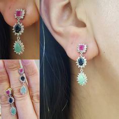 ac.silver A splash of colour this Monday for you. Check out our ruby sapphire emerald and diamond drop earrings perfect for when you can not pick your favourite colour!!