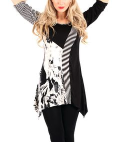 Look at this #zulilyfind! Black & White Abstract Sidetail Tunic #zulilyfinds