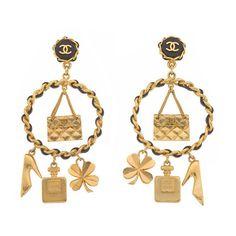 CHANEL MASSIVE ICONIC MOTIF EARRINGS ❤ liked on Polyvore featuring jewelry, earrings, chanel, chandelier jewelry, chanel earrings, charm earrings and chandelier earrings