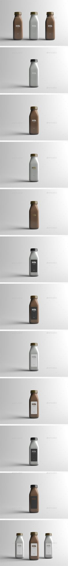 Milk Bottle Packaging MockUp — Photoshop PSD #matte #realistic • Available here → https://graphicriver.net/item/milk-bottle-packaging-mockup/16079323?ref=pxcr