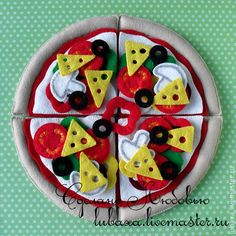 Купить Пицца из фетра - развивающая игрушка - разноцветный, развивающая игрушка, развивающие игры