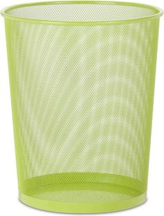 Honey-Can-Do Steel Mesh Powder-Coated Waste Basket, Lime Green