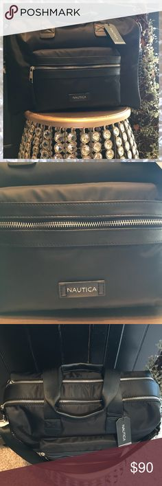 NAUTICA Travel Overnight Bag Black NAUTICA There's NO ONE who doesn't need this bag.  Very roomy & Extremely versatile - this bag is ideal for everything from travel, to business, and overnight to a day bag Two large main zip compartments One interior zip pouch One large exterior zip pouch on front Two open side pouches, great for phone, keys, etc.  Silver Tone Hardware Adjustable Strap Nautica Bags