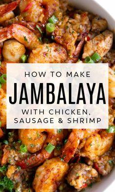 Creole Cooking, Cajun Cooking, Fine Cooking Recipes, Easy To Cook Recipes, Easy Cajun Recipes, New Cooking, Best Jambalaya Recipe, Southern Jambalaya Recipe, Jambalaya New Orleans Recipe