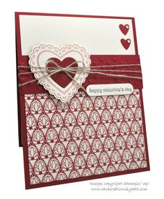 SU products-- Stamps: Hearts A Flutter, Teeny Tiny Wishes.  Paper:  Cherry Cobbler CS (4-1/4x11 Base/ 4-1/4x1-1/4 Embossed Strip), Scarps: Center Heart/ Small Hearts; Very Vanilla CS (4x5-1/4 Lrg. Layer/ 2-1/2x2-1/2 Lrg. Heart/ Scraps: Greeting; Festive Prints Stack (4x3-1/2 Pattern Layer--2012 Holiday). Ink: Cherry Cobbler/ Early Espresso.  Accessories: Hearts A Flutter Framelits, Adorning Accents EF, Heart to Heart Trio Punch (Ret.), Word Window Punch, Rhinestones, Linen Thread…