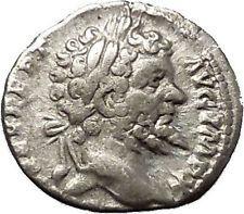 Septimius Severus 197AD Silver Ancient Roman Coin Nude Sol Sun w whip i53129