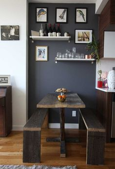 Look -- long bench table that could go along couch c bench stored under table // other ideas