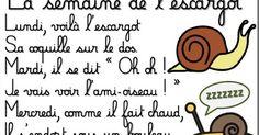 """La comptine """"La semaine de l'escargot"""" d'Ann Rocard : CLIC, CLIC sur l'image pour télécharger le document !"""