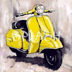 Cuadro de vespa en color amarillo sobre fondo sepia SP063 #moderno#pintura