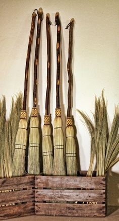 Natural Handle Besom Traditional Round Sewn by SkagitBroomWorks