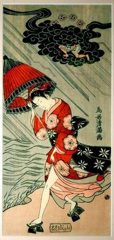 Woodblock print by Torii Kiyomitsu showing Woman with umbrella in a storm (17th century). @Sam Pryor