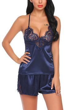 Buy Women Satin Pajamas Sexy Lingerie Lace Sleepwear Camisole Short Sets - Navy Blue - and Find More From Our Large Selection of Women's Sleepwear With Big Discount. Sexy Lingerie, Lingerie Outfits, Beautiful Lingerie, Sexy Outfits, Women Lingerie, Babydoll Nightwear, Babydoll Lingerie, Lace Babydoll, Lingerie Sleepwear