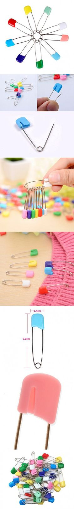 Yueton Pack of 50 Assorted Color Plastic Head Baby Safety Pins Safety Locking Baby Cloth Diaper Nappy Pins (Square)