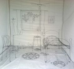 Amazing work with wire. Instalations and individual art.