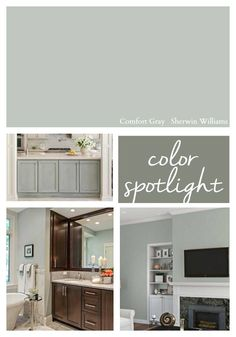 Color Spotlight: Sherwin Williams Comfort Gray for kitchen cabinets? Comfort Gray, Paint Colors For Home, Home, Room Colors, Sherwin Williams Comfort Gray, Interior, Green Grey Paint, Painting Bathroom, House