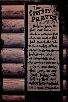 The Cowboy Prayer.. reminds me of back in the day...