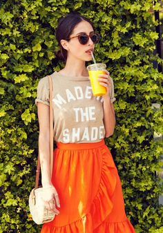 Graphic tee, coral ruffle skirt  jcrew style inspiration