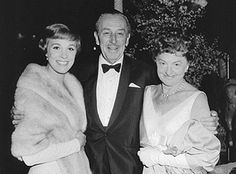 Julie Andrews, Walt Disney, and P.L. Travers at the 'Mary Poppins' film premiere, 1964.