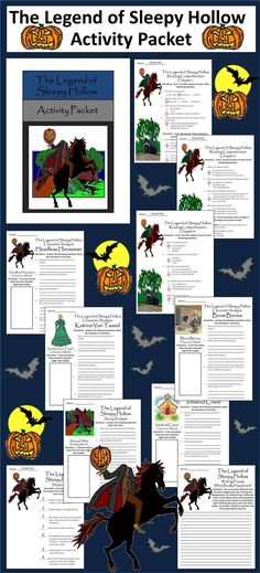 The Legend of Sleepy Hollow Activity Packet: This colorful packet is intended to be used with the Junior Classic version of Washington Irving's famous tale.  Contents Include: * 14 reading comprehension quizzes (1 per chapter) * Four Sleepy Hollow charact