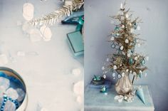 Images from Sweet Paul Mag via dietlind wolf. Blue and Silver Blue Christmas, Rustic Christmas, Christmas Crafts, Christmas Ideas, Sweet Paul, Diy Crystals, Prop Styling, Crystal Decor, Joy To The World