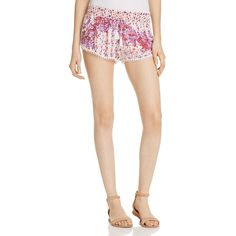 Poupette St. Barth Silk Shorts (£137) ❤ liked on Polyvore featuring shorts, white purple galaxy, white shorts, galaxy shorts, micro shorts, hot white shorts and patterned shorts