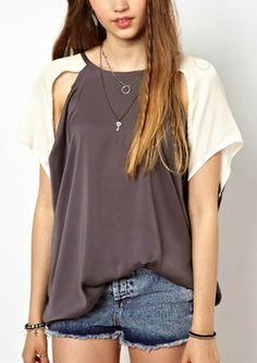 Color Block Cut Out Design Chiffon T-Shirt on Vesst.