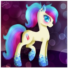 Neon feather is a party pony!!! She loves to party and talk with friends. She never EVER likes to be alone.