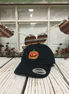 Hey, I found this really awesome Etsy listing at https://www.etsy.com/listing/465627468/scary-pumpkin-yupoong-classic-baseball
