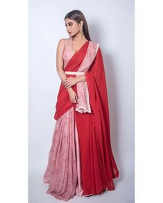 Ruffle saree is a traditional saree style with a twist are the major attraction for the Bollywood actresses. Western Dresses, Indian Dresses, Indian Outfits, Saree Gown, Lehenga, Sari, Saree Draping Styles, Saree Styles, Wedding Dresses For Girls