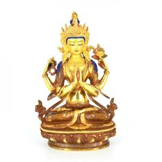 Gold Plated Chengreshi Statue also known as Avalokietswor- Lord who looks upon the world with compassion. Handicraft, Compassion, Buddha, Plating, Mandala, Lord, Princess Zelda, Statue, Fictional Characters