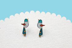 Bird studs earrings birds jewelry illustrated earring studs