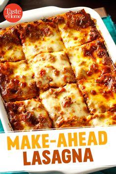 Make-Ahead Lasagne - Pasta Recipes - Make Ahead Lasagna, Make Ahead Meals, Freezer Meals, How To Cook Lasagna, Lazy Lasagna, Freezer Cooking, Casserole Recipes, Pasta Recipes, Dinner Recipes