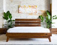 Modern Bed Bed Walnut Bed Midcentury Modern Bed door moderncre8ve