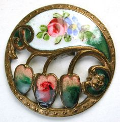 Antique French Enamel Button Pierced w/ Hand Painted Floral