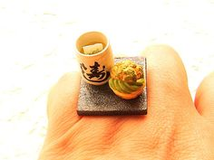 Green Tea Ring  Miniature Food Jewelry Cup of by SouZouCreations, $10.00