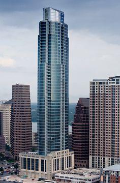 The Austonian, residential high-rise - Austin, Texas Futuristic Architecture, Amazing Architecture, Architecture Design, Amazing Buildings, City Buildings, High Rise Building, Building Structure, City Living, Skyline