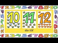 Deutsch lernen: Zahlen 1 - 12 (Spiel - game - jeu de Kim) - YouTube Education Sites, Learn German, German Language, Teaching, How To Plan, Math, Youtube, Lesson Planning, Languages