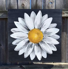 Daisy Painting on Wood Panel Original Flower Art by ClarabelleArte