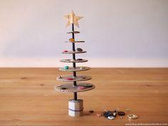 Cardboard & Button Christmas Tree button christma, xmas tree, upcycl christma, christma tree, cardboard collect, tree tabl, christma azaz, christmas trees