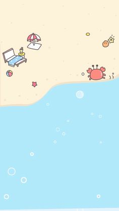 Praia e mar! Cute Wallpaper Backgrounds, Cool Wallpaper, Mobile Wallpaper, Beach Wallpaper, Cellphone Wallpaper, Lock Screen Wallpaper, Iphone Wallpaper, Wallpapers Tumblr, Cute Cartoon Wallpapers