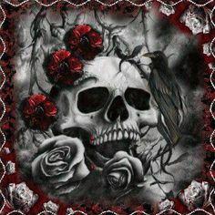 Skull raven roses