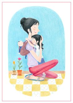 © Axelle Vanhoof Art Mignon, Mother And Child, Cute Art, Illustrations, Kids Rugs, Children, Painting, Mom, Drawings