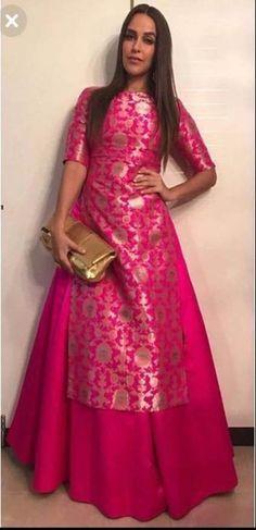 banarasi silk Jamvar Kameez wedding Designer Anarkali dres s Indian Skirt salwar Lehenga Designs, Kurta Designs, Kurti Designs Party Wear, Blouse Designs, Designer Kurtis, Indian Designer Suits, Robe Anarkali, Saree Dress, Indian Skirt