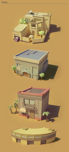 Poster in low-poly Modelos Low Poly, Modelos 3d, Isometric Drawing, Isometric Design, Makeup Gothic, Cartoon Building, 3d Building, Low Poly Games, Polygon Art