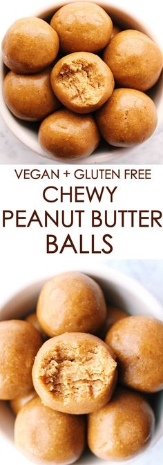 CHEWY PEANUT BUTTER BALLS {vegan, gluten free} These 4 ingredient peanut butter balls are the BEST energy booster! Chewy, sweet + filling = everything you need in a snack. If you like peanut butter, then these are for you! They take a total of … Healthy Vegan Snacks, Vegan Sweets, Healthy Sweets, Vegan Recipes, Snack Recipes, Health Sweet Snacks, Vegan Snacks On The Go, Fudge Recipes, Cooking Recipes