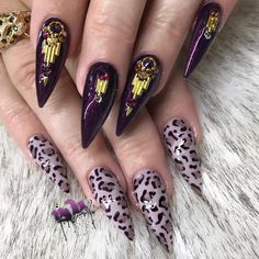 """4,019 Likes, 23 Comments - Yvett (@yvynails) on Instagram: """"Fierce Fancy nails to match her ring @michellevisage 🐆 💍#longnails #teamalmond #quality #acrylic…"""""""