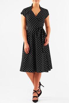 I <3 this Polka dot crepe vintage style wrap dress from eShakti