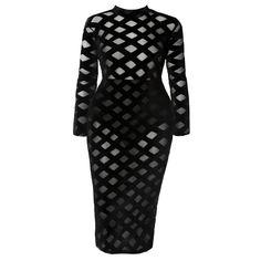 446971f4a2d26 Plus Size Velvet and Mesh Windowpane Dress. Posh Shoppe