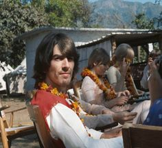 Celebrating 50 years of 'The Beatles' visit to Rishikesh, India! George Harrison would've turned 75 years old today. 50 years ago he celebrated his birthday with friends and band members at the Ashram in George Harrison, Olivia Harrison, Mia Farrow, The Beatles Story, Beach Boys, John Lennon Beatles, Classic Songs, The Fab Four, The Beatles